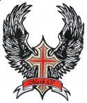 Krzyż z wstęgą i dużymi skrzydłami
